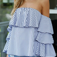 Blue Sexy Strapless Wrap Ruffle Tops T-shirts [10467573012]