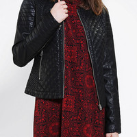 Urban Outfitters - Members Only Quilt On Quilt Vegan Leather Moto Jacket