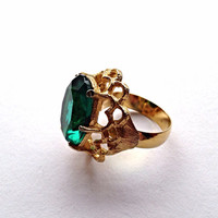 Adjustable Ring Green Rhinestone Gold Tone Filigree Setting