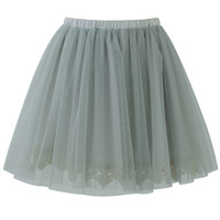 Fairy Tulle Skirt with Lace Trimming in Smoke Blue S/M