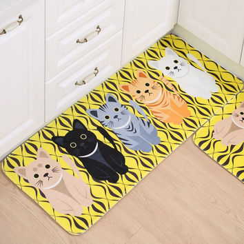 Adasmile New Printing Memory Foam Cartoon Cat Mat Doormats Area Rug Kitchen Rugs For Bathroom Floor Bedroom Living Room