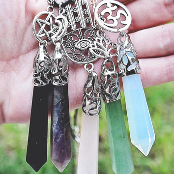 5 Colors Long Pointed Healing Crystal Rock Customizable Top Pendant Boho Grunge Spiritual Witch Hippie Customize Velvet Choker Chain Necklac