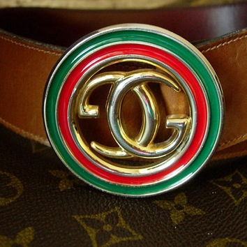 Auth RARE Vintage GUCCI Brown Saddle Leather Belt Red Green Christmas Enamel GG Wardrobe Accessory