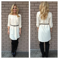 Ivory Button & Belted Tunic Dress