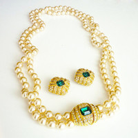 Vintage Joan Rivers Necklace Earrings Glass Pearl Diamante Rhinestone Faux Emerald Jewelry Set