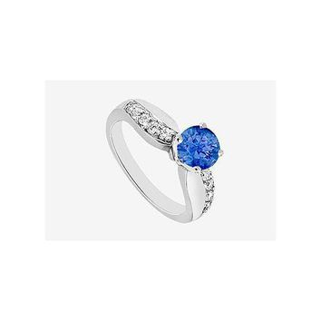 Engagement Ring Sapphire and Cubic Zirconia in 14K White Gold 1.25 Carat TGW