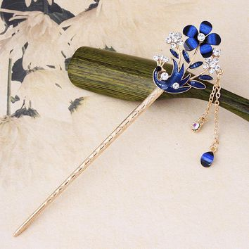 Retro Drop Oil Flowers Hairpins Rhinestones Peacock Tassels Hair Sticks Chain Headwear for Women Hair Accessories