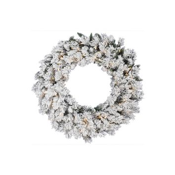 "24"" Pre-lit Heavily Flocked Pine Artificial Christmas Wreath - Clear Lights"