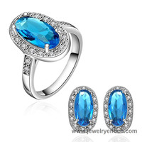 Gorgeous Earring And Ring White Gold Plating Fashion Stock Jewelry Set