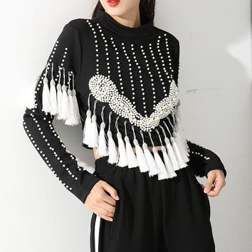 [soonyour] autumn and winter new women's beaded fringed head long-sleeved T-shirt high-collar Sweatshirts top AS19680