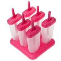 Ozera Popsicle Molds Ice Pop Molds, Oval, Set of 6, Pink