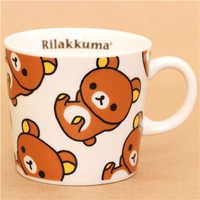 kawaii white Rilakkuma cup with brown bear San-X - Cups-Mugs - Bento Boxes