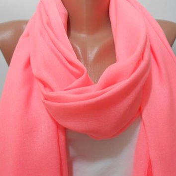 Neon Pink Scarf Shawl, Neon Pink Cowl Scarf with Fringe Edge, Fashion Women Accessories, Gift For Her For Mom, ScarfClub