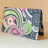 Fabric Checkbook Cover / Wallet / Silk Road Paisley Pink / Ready to Ship