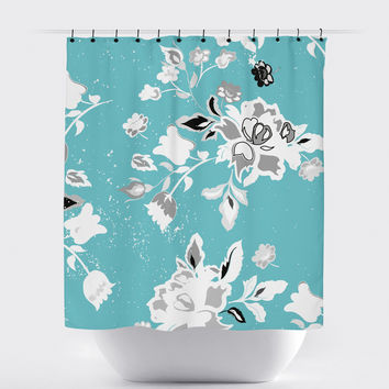 Blue White Shabby Chic Floral Shower Curtain