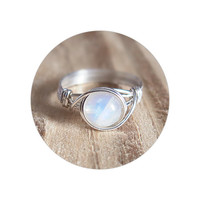 Blue Flash Moonstone Ring - prom rings
