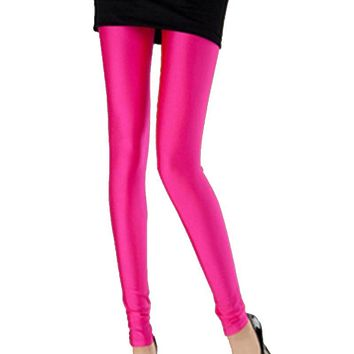 Sexy Candy color Neon Women's Leggings High Stretched Jeggings Fitness Clothing Casual Pant