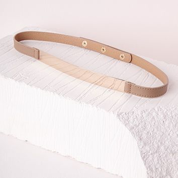 Missguided - Skinny Gold Plate Belt Tan