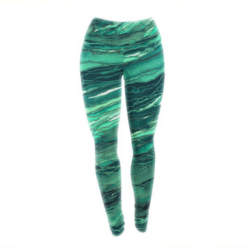 "Ebi Emporium ""Agate Magic - Teal Green Multi"" Jade Painting Yoga Leggings"