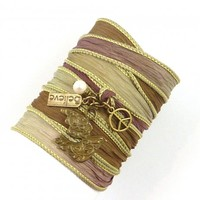 Silk Wrap Bracelet with Dove, Peace Sign, Believe Charm, and Freshwater Pearl