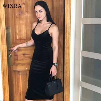 WIXRA Basic Spaghetti Strap Dress 2018 Summer New Women Side Split Velvet Dress Solid Brief Party Bodycon Midi Casual Dresses