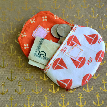 Sail boat coin purse, change purse, pouch, coin bag, mini wallet, purse, pocket pouch, nautical coin purse, change wallet, stocking stuffers