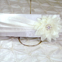 In Stock Ivory Satin Clutch Formal Evening Bag With Ivory Satin Tulle Flower Rhinestone Pearl Brooch Embellishment Wedding Bridal Handbag