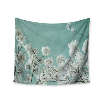 "Iris Lehnhardt ""Flowering Season"" Teal White Wall Tapestry"