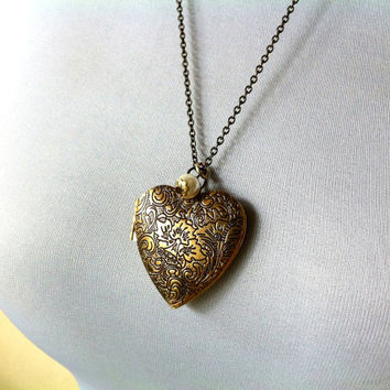 heart locket with customized birthstone necklace