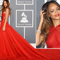 Custom make celebrity dress/red carpet 55th grammy awards rihanna dress/red prom dress/chiffon prom dress/ long evening formal dress/