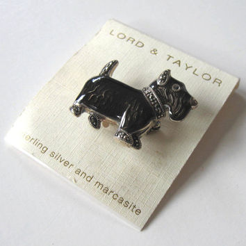 Vintage Sterling Silver and Marcasite Scottie Pin, Westie Brooch, Lord and Taylor, Jewelry, Women's accessory, gift idea