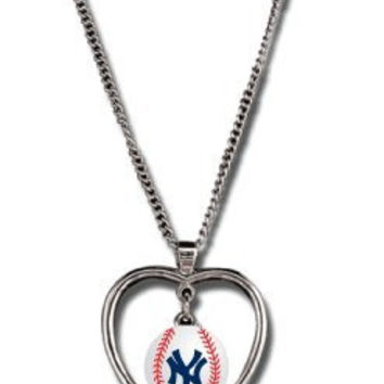 New York Yankees Necklace w/ Baseball in Heart Charm