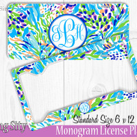 Aqua Seaweed Monogram License Plate Frame Holder Metal Wall Sign Tags Personalized Custom Vanity Plate