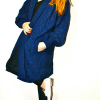 Slouch Hipster Royal Blue Oversized Long Cocoon Open Heavy Winter Cardigan Sweater Coat M