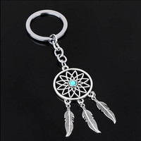 Feather Wind Chimes Dream Catcher Key Chain Holder Keyring Silver Key Chain Rings Women Men Jewelry GM572