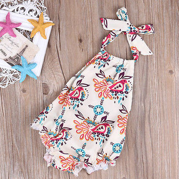 Cute Newborn Baby Girls Floral Sleeveles Romper Backless Jumpsuit Summer Sunsuit Clothes