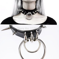 Punk Gothic Handcrafted Metal Double O Round Spiked Spikes Layered Leather Collar Choker Necklace