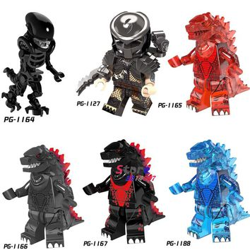 Single Super Hero Movie Series Alien vs. Predator Godzilla Giant Monster figure building blocks model bricks toys for children