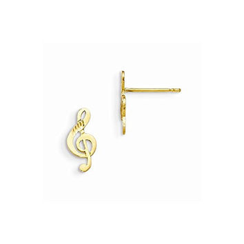 14k Madi K D/C Children's Music Note Post Earrings