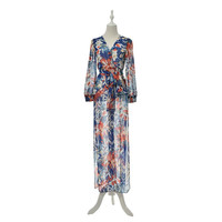 Bohemian Style Chiffon Beach Party High Split Dresses Maxi Long Sexy Women Deep V-Neck Floral Dress