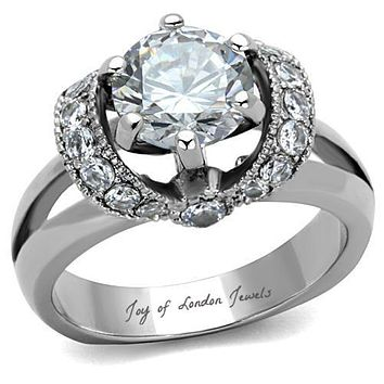 A Perfect 2CT Round Cut Russian Lab Diamond Ring