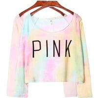Women's Tie Dye Letter Pink Print Clouds Crop Long Sleeve T-shirt