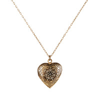 Vintage Heart Locket Pendant Necklace | Gold | Accessorize