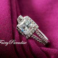 1 Ct (6 mm) Princess Cut Man Made Diamond Halo Set Split Shank Band Solitaire Engagement Wedding Promise Ring -made to order (FairyParadise)