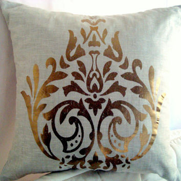 Bronze gold pillow – 20x20 pillow cover – Hand-printed, paint cushion cover – Beige linen natural pillow sham – Indoor outdoor home deco