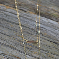 Double layer stick bar pendant necklace {White/Gold}