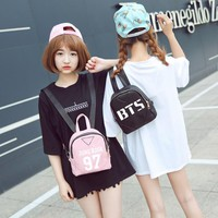 2017 NEW kpop star goods BTS PU mini schoolbag korea backpack For bts fans