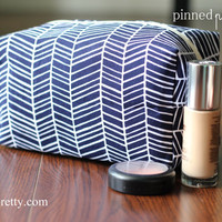 Large Makeup and Cosmetic Bag in Navy Herringbone
