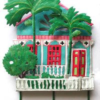 Turquoise Gingerbread House Wall Hook - Painted Metal Tropical Art Design - K-1001-TQ-HK