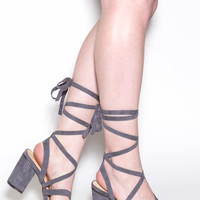 So Strapping Lace-Up Chunky Heels